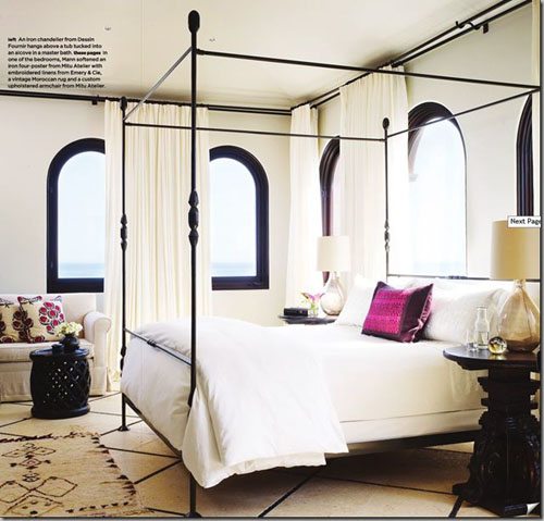 neutral bedroom with iron canopy bed & Making a Statement in the Bedroom- The Modern Canopy Bed - Design ...