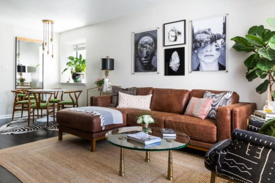 Living Room and Leather sectional by Design Manifest